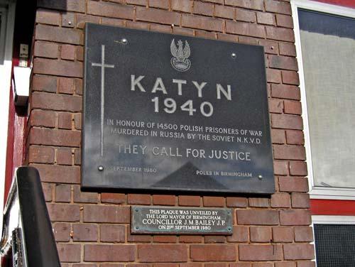 Katyn Memorial Plaque Birmingham