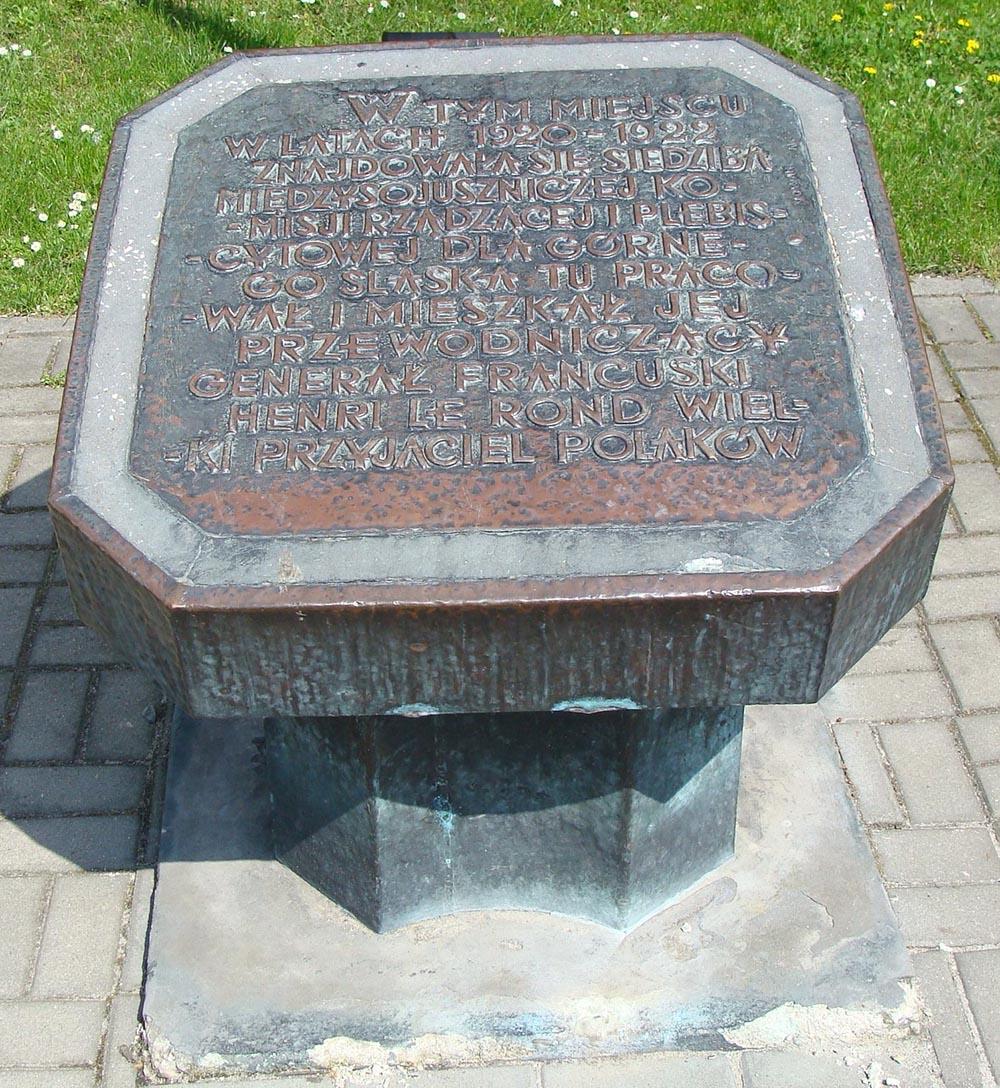 Memorial Stone Commission Interalliée de Gouverment et de Plébiscite de Haute Silésie