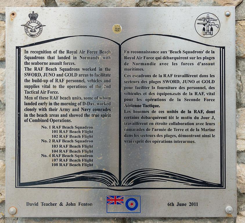 Plaque RAF Beach Squadrons