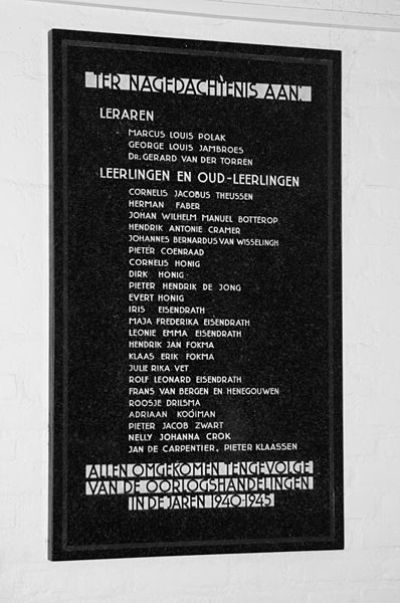 Oorlogsmonument Zaanlands Lyceum