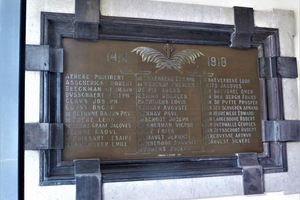 Gedenkplaat St.Jozefscollege Aalst