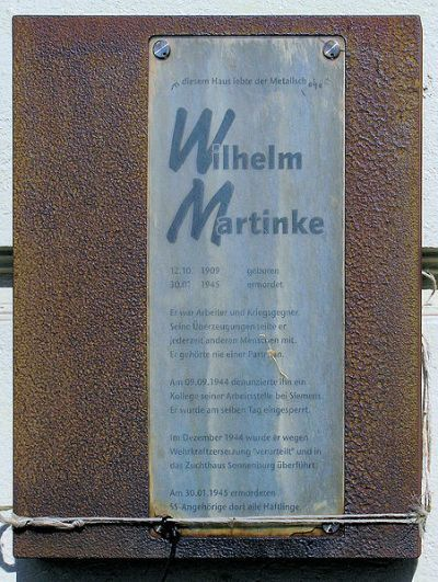 Plaquette Wilhelm Martinke