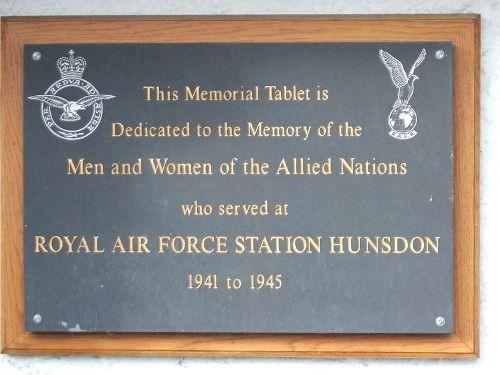 Plaquette RAF Hunsdon