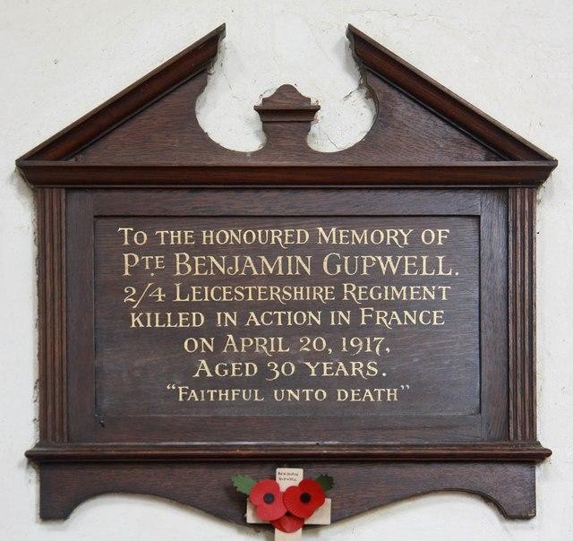 Memorial Benjamin Gupwell
