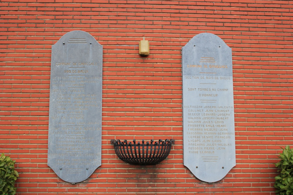 Commemorative Plates First World War Bois-de-Breux