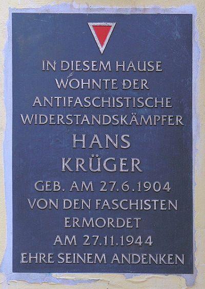 Plaquette Hans Krüger