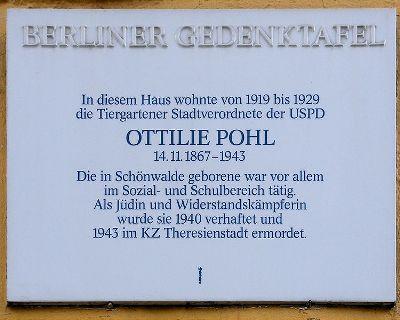 Plaquette Ottilie Pohl