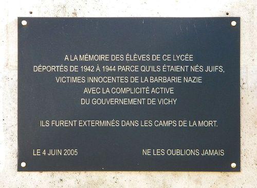 Plaquette Gedeporteerden Lycée Charlemagne