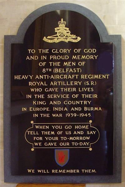 Monument 8th Belfast Heavy Anti Aircraft Regiment