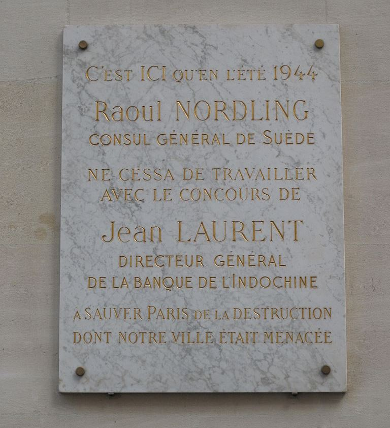Plaque Raoul Nordling