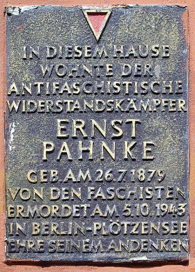 Plaque Ernst Pahnke