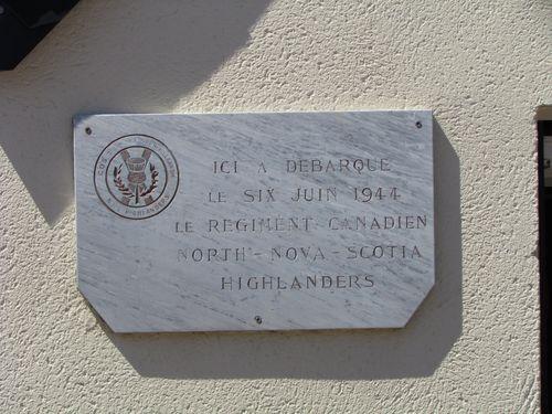 Plaque North Nova Scotta Highlanders Regiment Bernières-sur-Mer