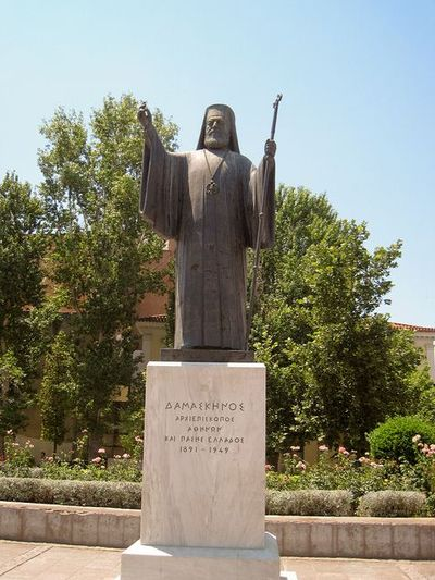 Standbeeld Aartsbisschop Damaskinos Athene