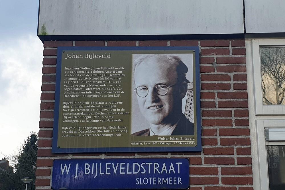 Memorial Plates Slotermeer W.J. Bijleveldstraat