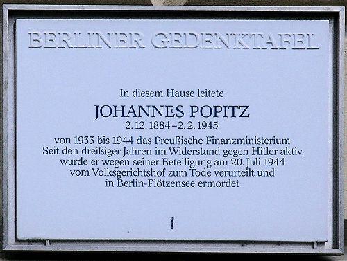 Plaque Johannes Popitz