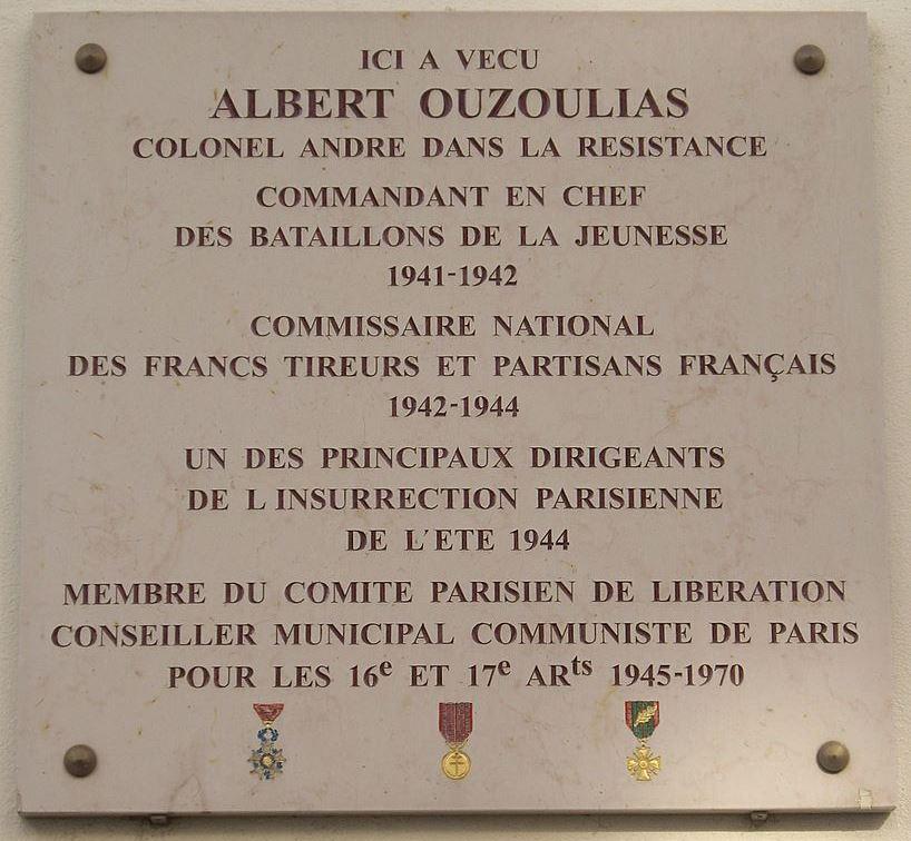 Plaque Albert Ouzoulias
