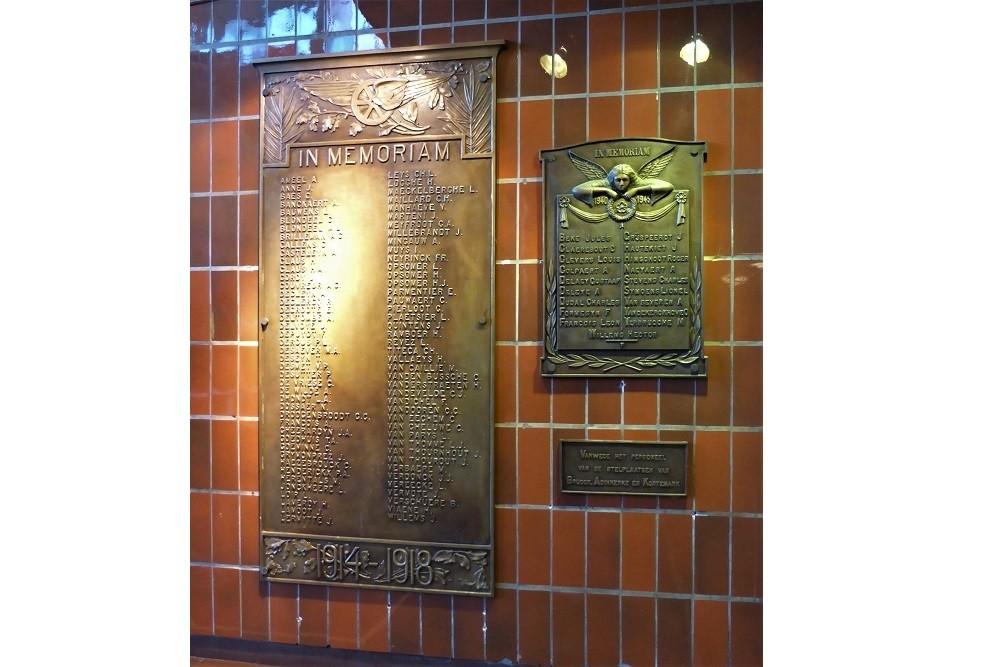 War Monument Railwaystation Bruges