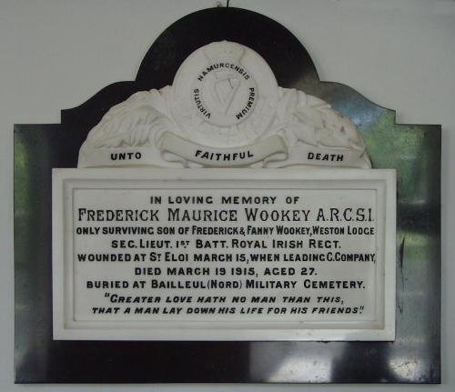 Remembrance Plaque Frederick Maurice Wookey