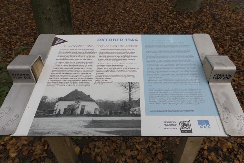 Information sign 'Incredible Patrol' along the Ede-Arnhem road