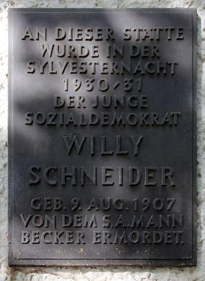 Plaque Willy Schneider