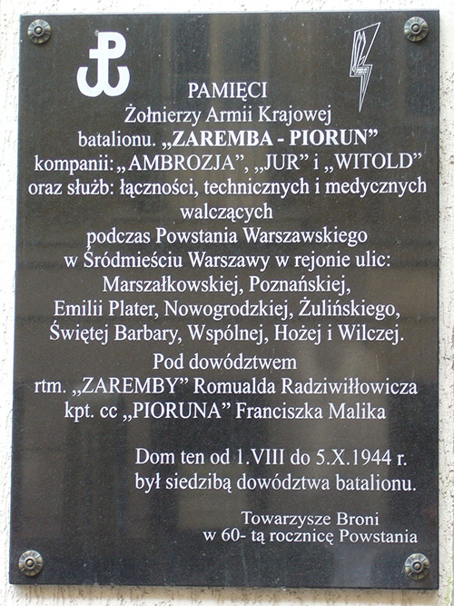 Plaquette Bataljon Zaremba-Piorun