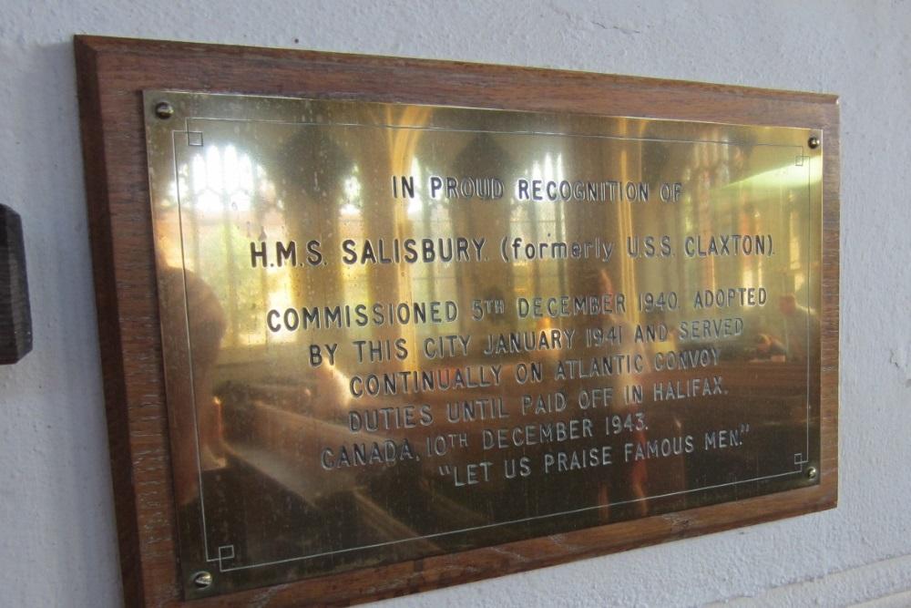 Plaquette HMS Salisbury
