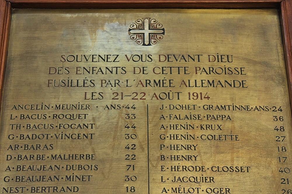 Gedenkplaten Oorlogsslachtoffers Collegiale Kerk Sint-Begga, Andenne