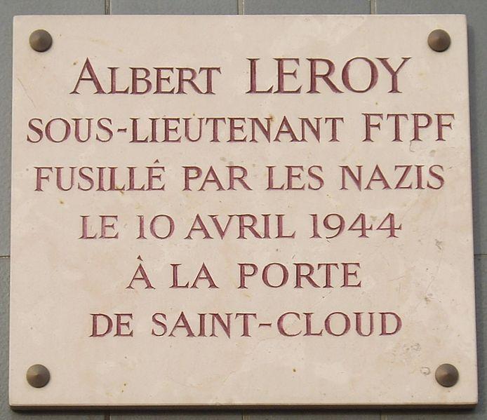 Plaque Albert Leroy