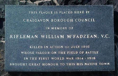 Remembrance Plaque William McFadzean
