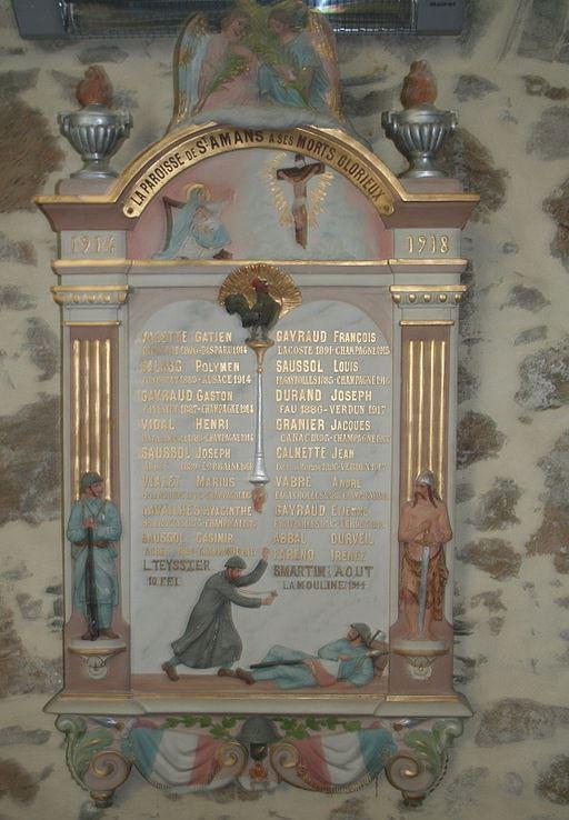 Oorlogsmonument Parochie van Saint-Amans