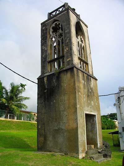 War Damage Spanish Church Tower Garapan