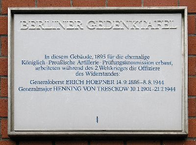 Plaque Erich Hoepner and Henning von Tresckow