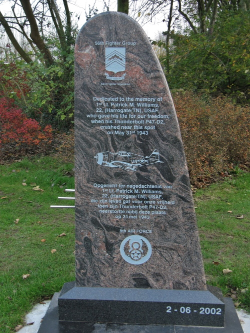 Memorial 1st Lieutenant Patrick M. Williams Thunderbolt P47-D2