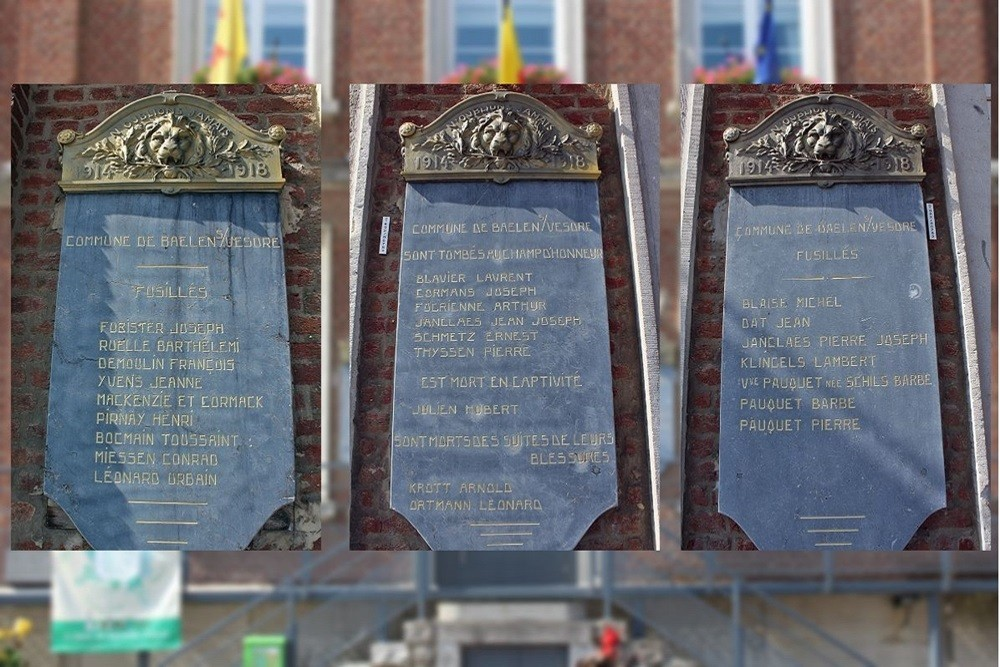 Memorial Plaques To Victims Of The First World War Baelen