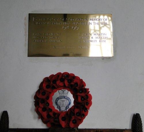 War Memorial Wickham Skeith Church