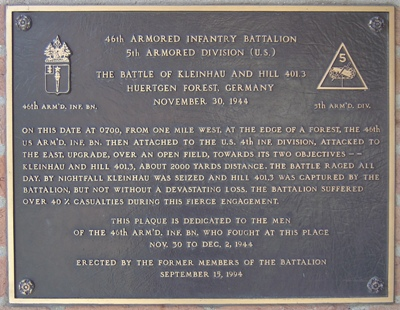 Plaque 46th Armored Infantry Battalion