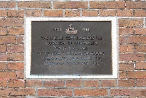 Plaque Royal Canadian Dragoons Leeuwarden - Leeuwarden