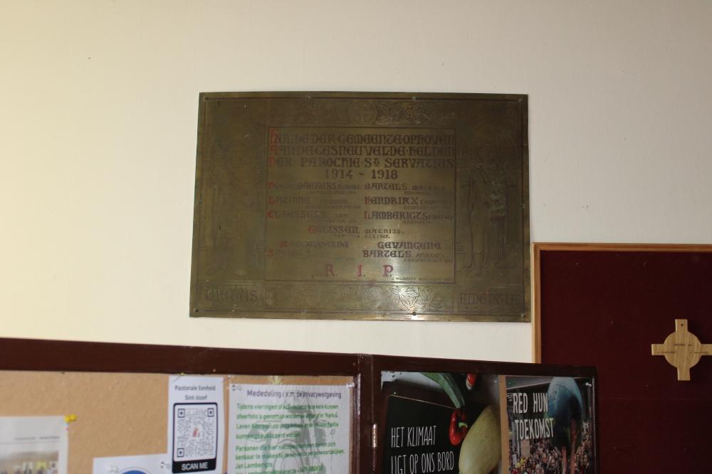 Gedenkplaat Eerste Wereldoorlog Ophoven