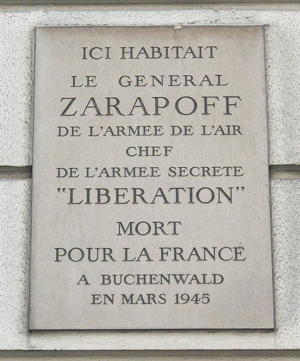 Plaque Constantin Émile Georges Zarapoff