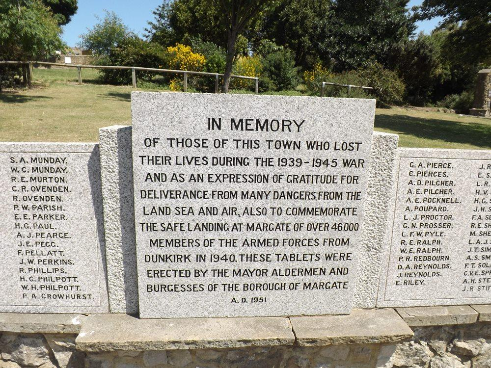This Memorial In Trinity Memorial Gardens Commemorates The Residents Of  Margate Who Gave Their Lives In The Second World War, The Falklands War And  In ...