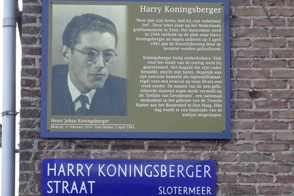 Memorial Plates Slotermeer Harry Koningsbergerstraat