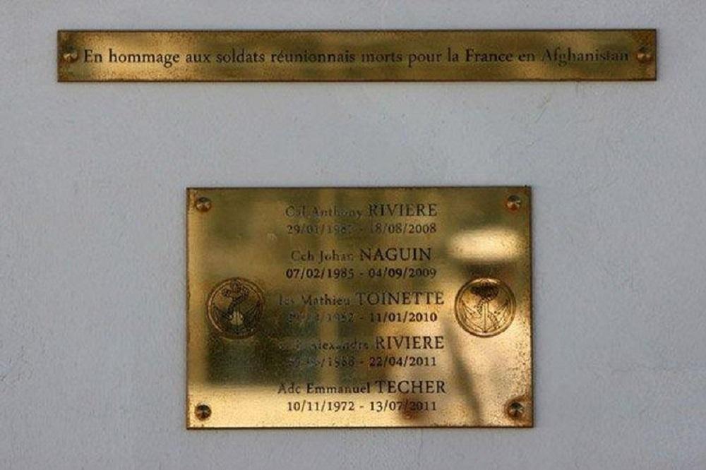 Plaquette Omgekomen Franse Soldaten La Réunion