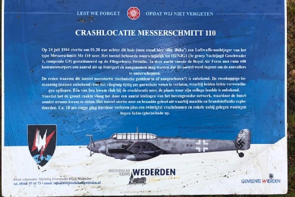 Crashlocatie Messerschmitt Bf 110 Vriezenveenseweg Wierden
