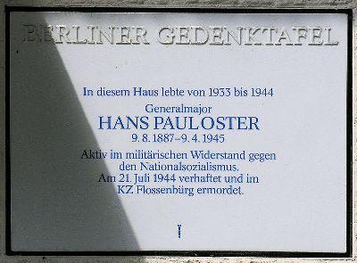 Plaquette Hans Oster