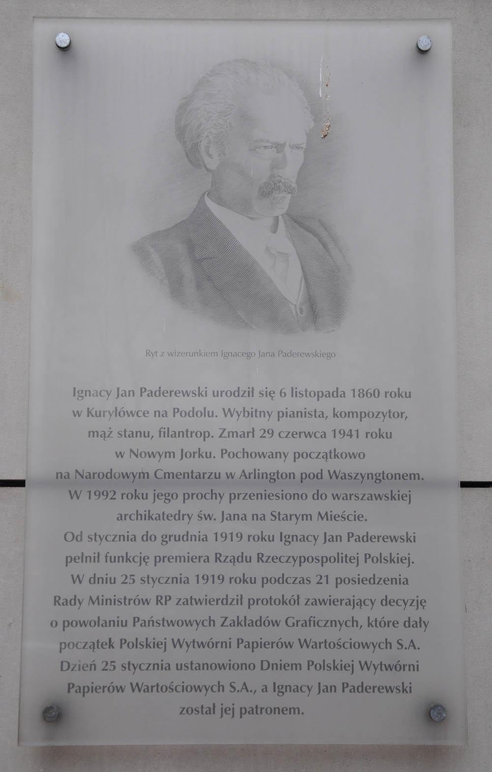 Plaquette Ignacy Paderewski