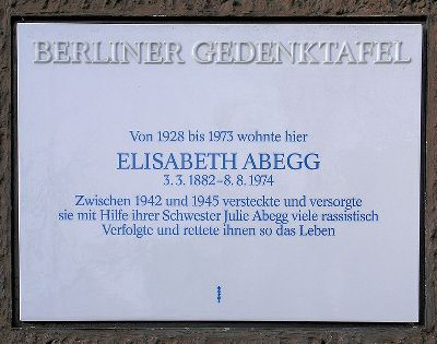 Plaque Elisabeth Abegg