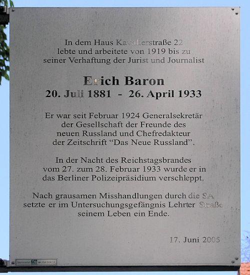 Plaque Erich Baron