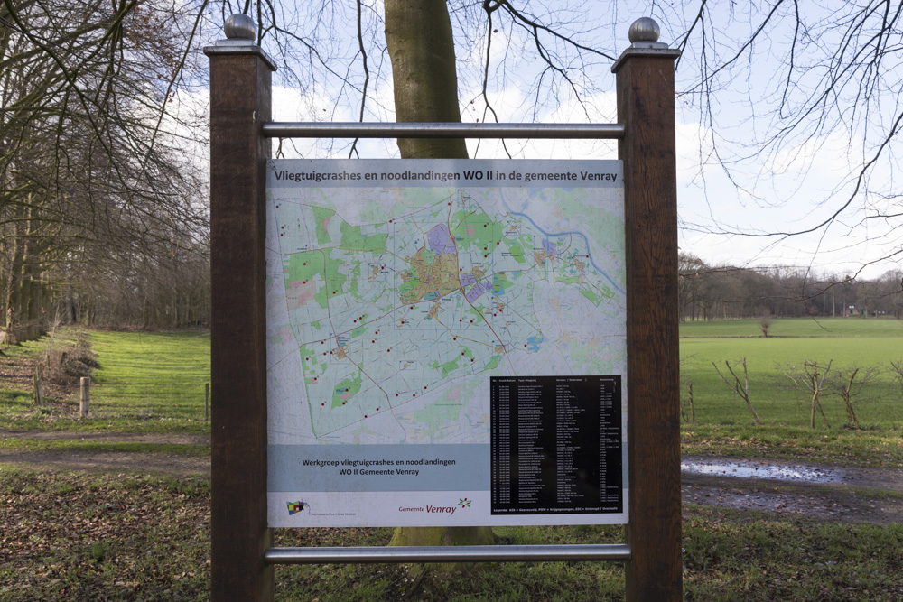 Information Sign Aircraft Crashes and Emergency Landings WW2 in Venray Municipality