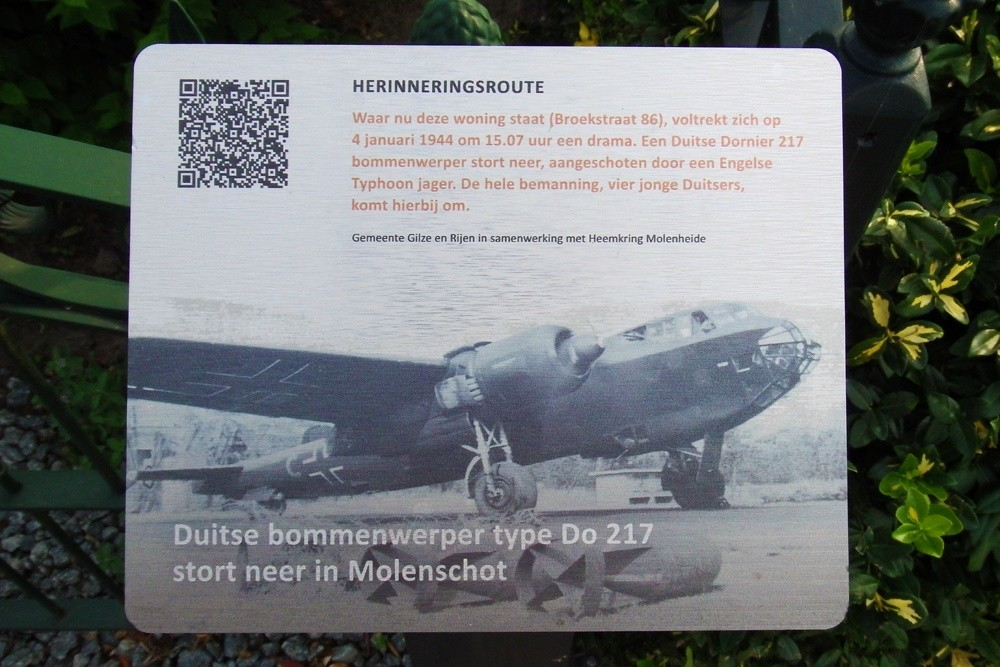 Memory Route World War ll German Bomber DO 217 Crashes in Molenschot