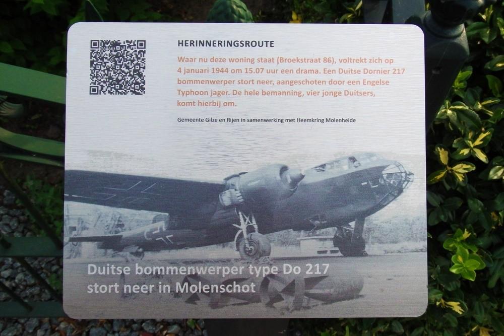 Herinneringsroute Tweede Wereldoorlog Duitse DO 217 Stort Neer in Molenschot